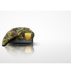 Light background military camo beret special vector
