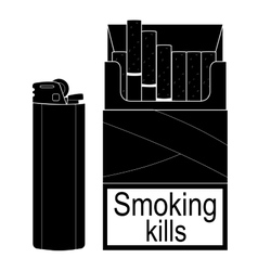 Open cigarettes pack with gas lighter black vector