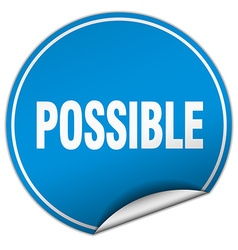 Possible round blue sticker isolated on white vector