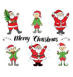 santa claus and elfs hand drawn set merry vector image