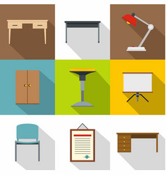 school furniture icons set flat style vector image vector image