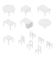 Set of furniture chairs and tables isometric vector