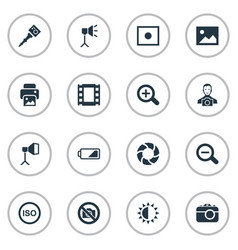 Set of simple photograph icons vector