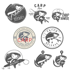 Set of vintage carp fishing design elements vector image vector image