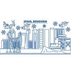 Spain benidorm winter city skyline merry vector