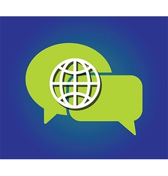 speech bubble globe vector image
