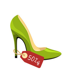 Stiletto shoe with price tag 50 off isolated on vector