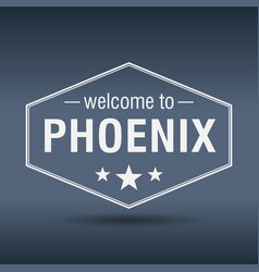 welcome to phoenix hexagonal white vintage label vector image vector image