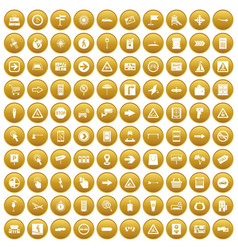 100 pointers icons set gold vector image vector image