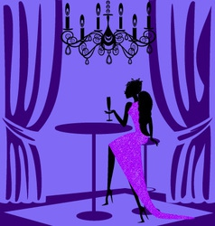 Purple lady in a bar vector