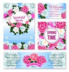 Springtime flower greeting card banner template vector