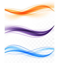 Abstract colorful bright wavy lines collection vector