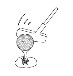 Ball and putter for golfgolf club single icon in vector