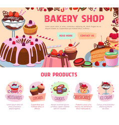 Landing page for bakery shop desserts vector