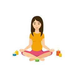 Girl is engaged in the lotus position in yoga vector