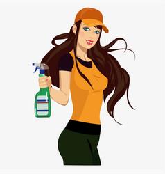 girl with a spray vector image