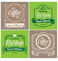 Vintage coffee and tea label design set vector