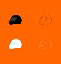 racing helmet black and white set icon vector image