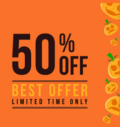 Halloween sale on orange background vector
