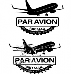 Par avion rubber stamp vector
