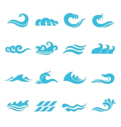Waves Icons Set vector image