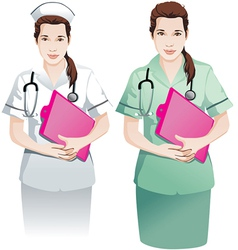 Beautiful nurse with clipboard vector