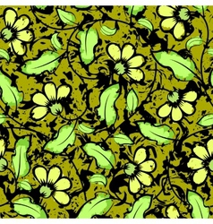 abstract grunge yellow flowers seamless background vector image