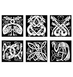 Birds and animals in celtic ornament vector image