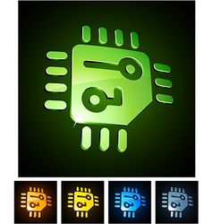 3d vibrant cpu emblems vector