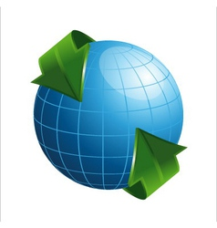 3d globe with arrows vector image
