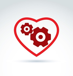 Gears and cogs in a shape of heart system theme vector