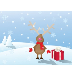 Snowy christmas landscape with deer and gift vector