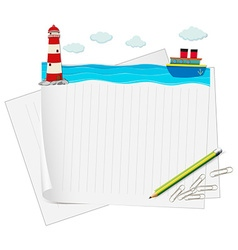Paper design with ocean view vector