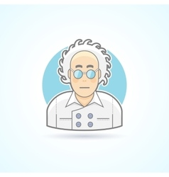 Crazy scientist nerd in glasses and overall icon vector