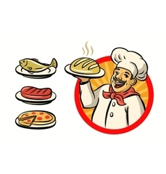 Chef with hat and meal vector
