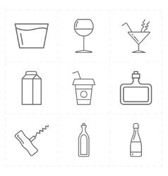 9 modern flat bar icons vector image