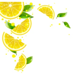 Background of lemon and juice splashes vector