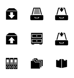 Black archive icon set vector