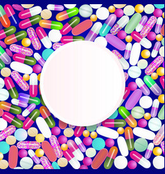 A lot of medicines and pills from the colorful vector