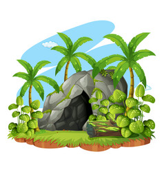 Background scene with cave in forest vector