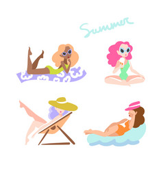 beautiful women on the beach vector image vector image