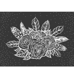 Blackwork tattoo of rose and feathers bouquet vector
