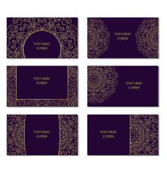 Card set round ornamental pattern vector