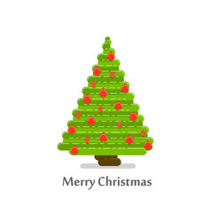 christmas tree in a flat style vector image vector image