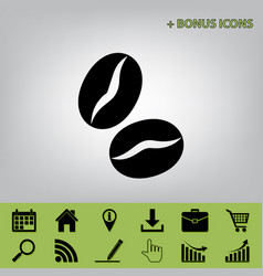 Coffee beans sign black icon at gray vector