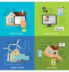 Colored Smart House Icon Set vector image vector image