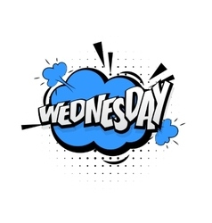 Comic blue effects pop art word wednesday vector