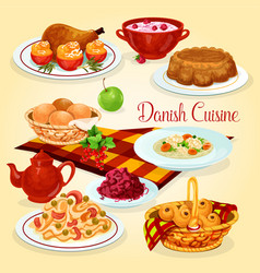 Danish cuisine healthy lunch dishes cartoon icon vector