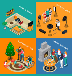Disabled people isometric compositions vector