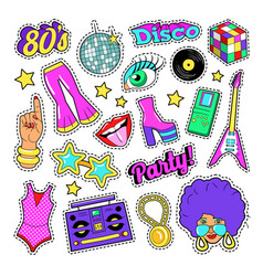 Disco party retro fashion elements with guitar vector